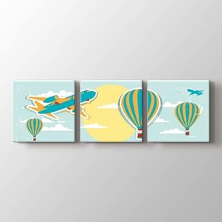 Uçan balon ve uçak görseli.