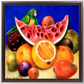 Still Life With Parrot and Fruit görseli.