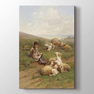 Sürüsüyle Genç Çoban  görseli.