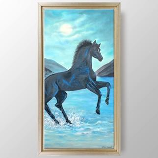 Ayışığı Siyah At görseli.