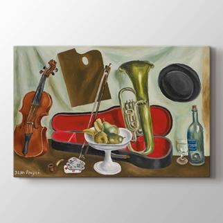 Müzik Aletleri ve meyve kase görseli.